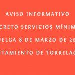 Servicios Mínimos Huelga 8 de marzo