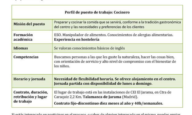 Oferta Empleo: Cocinero Centro Educativo Internacional CEI EL Jarama