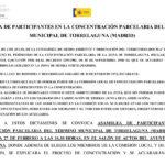 Aviso de celebración de Asamblea de participantes de la concentración parcelaria de Torrelaguna