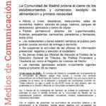 La Comunidad de Madrid ordena el cierre de los establecimientos y comercios, excepto de alimentación y primera necesidad