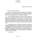 Comunicación de la Presidenta de la Comunidad de Madrid en respuesta a nuestro Alcalde