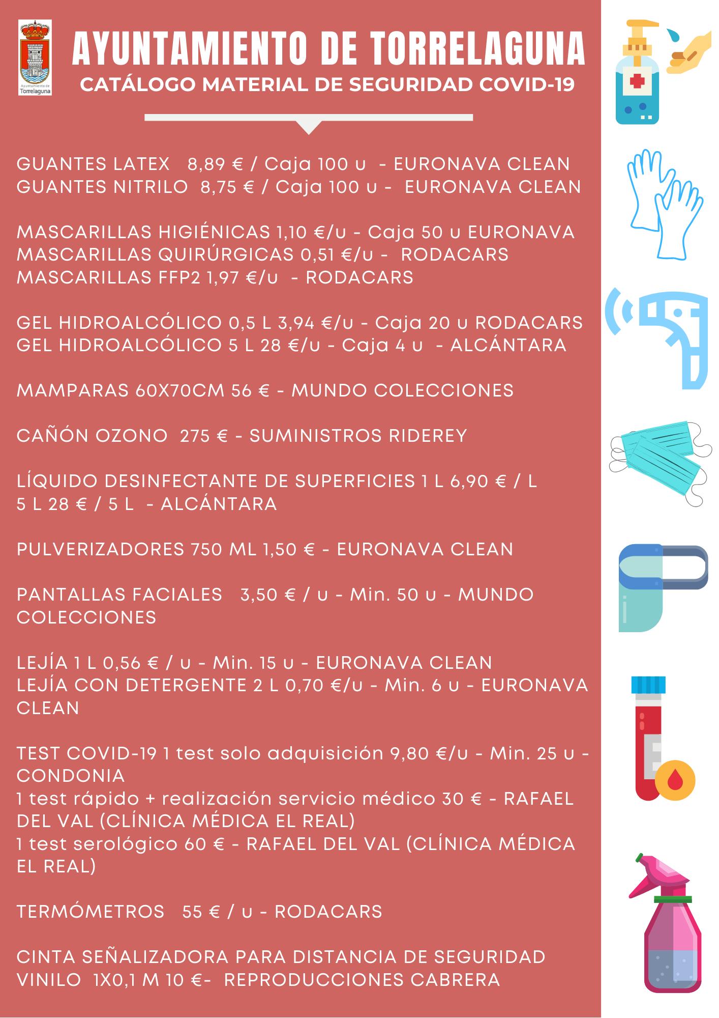 catálogo de material de seguridad COVID-19 Torrelaguna
