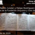 Dúos de Mozart para violín y viola  – 19 de julio de 2020 – Iglesia Parroquial Santa María Magdalena