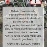 Aviso de incidencia en alumbrado público por obras