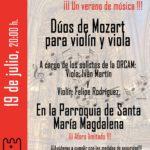 Festival Juntos 2020. Dúos de Mozart para violín y viola