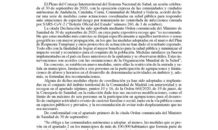 La ORDEN 1273/2020, de 1 de octubre, de la Consejería de Sanidad que  entra en vigor este viernes a las 22:00 horas NO cambia la situación en Torrelaguna.
