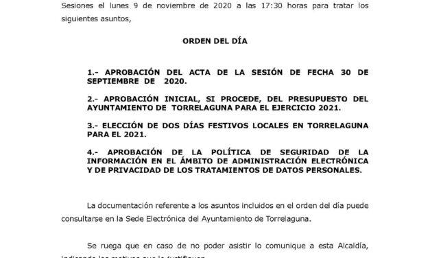 Convocatoria Pleno extraordinario día 9 de noviembre