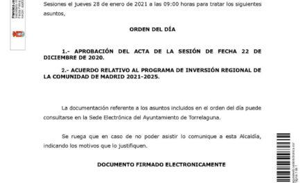 Convocatoria a la sesión extraordinaria del Pleno del Ayuntamiento, jueves 28 de enero de 2021 a las 09:00 horas