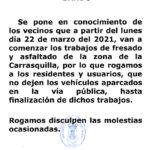 Aviso importante: Obras en la zona de Carrasquilla