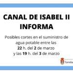 Aviso del Canal de Isabel II