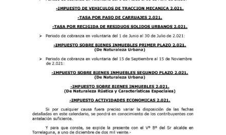 Recordatorio de impuestos y tasas municipales cuyo pago en periodo voluntario finaliza el día 30 de abril