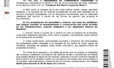 Bando municipal de Limpieza y desbroce de parcelas y terrenos urbanos, limpieza del viario y espacios libres
