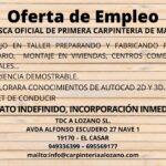 Oferta de empleo de Oficial Primera de Carpintería Madera en el Casar
