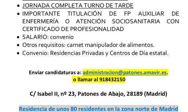 Oferta de trabajo en Residencia AMAVIR