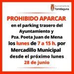 Prohibido aparcar los lunes de 7:00 a 15:00h en aledaños de la Plaza Mayor
