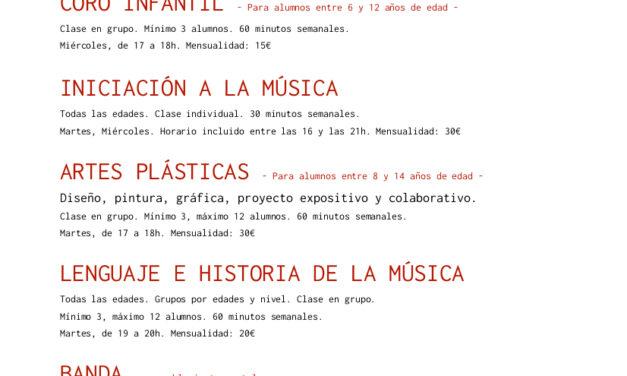Oferta educativa de la Escuela Municipal de las Artes (EMAT) – Curso 2021-22