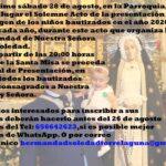 Invitación a la misa y a la presentación oficial a la Virgen de los niños bautizados