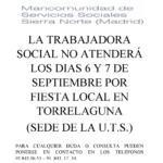 Cierre del Centro de Servicios Sociales de Torrelaguna los días 6 y 7 de septiembre por fiesta local