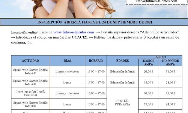 Oferta de actividades extraescolares lanzada por el AMPA del CEIP Cardenal Cisneros para el curso 2021-22