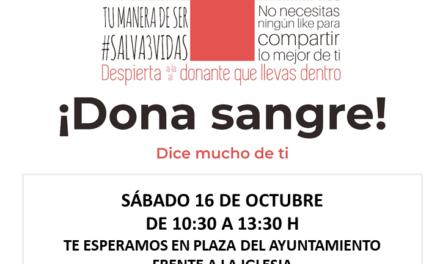 Este sábado campaña de donación de sangre en la Plaza
